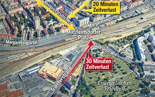 Matzleinsdorfer Platz versinkt im Stau