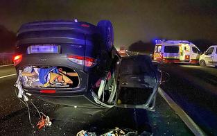 Pkw überschlug sich auf der Autobahn