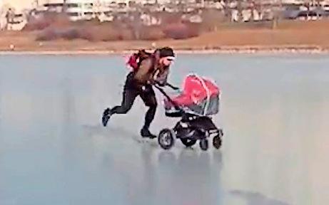 Donau-Eislaufen ist Internet-Hit