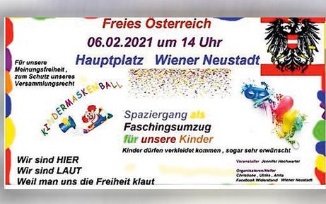 Corona-Demo in Wr. Neustadt als Kinder-Faschingsumzug getarnt