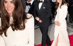 Herzogin Kate strahlt in Weiß und zeigt Bein