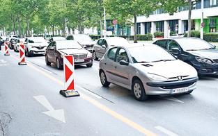 Mega-Stau für vier Radler in Leopoldstadt