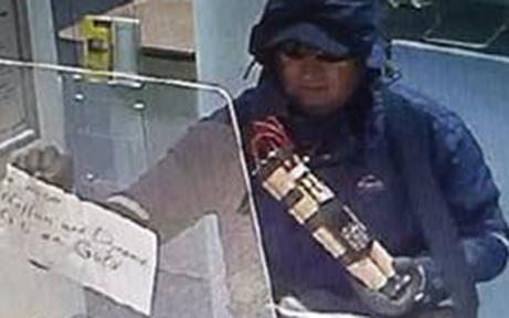 Räuber überfiel Bank mit Dynamit in der Hand