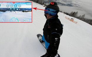 Skifahrer können Datenhelm testen