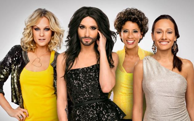 Song Contest-Moderatorinnen: Mirjam Weichselbraun, Conchita Wurst, Arabella Kiesbauer, Alice Tumler