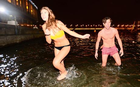 Frostiger Badespaß bei der Neuen Donau