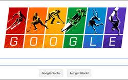 Google-Logo erstrahlt im Olympia-Look