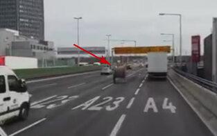 Führerlose Kabelrolle rollt über A23