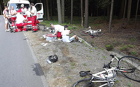 Massensturz bei Radmarathon
