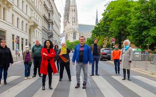 Start für dritten Pop-Up-Radweg in Wien in der Hörlgasse