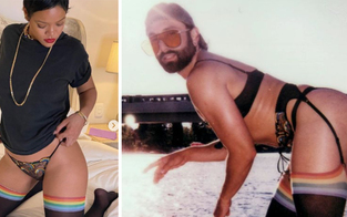 Hot! Rihanna feiert Pride mit Regenbogen-String und Strümpfen